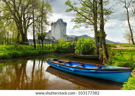 Boat at Ross Castle in Co. Kerry, Ireland