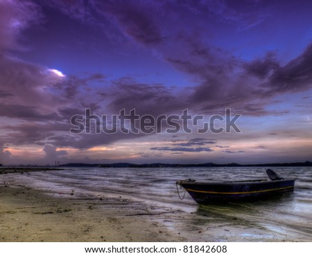 Boat Beached at Low Tide, at Day's End, at Twilight.