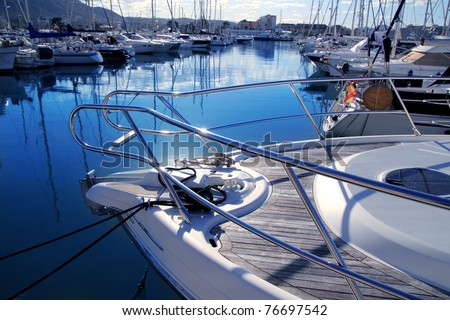 Boat blue mediterranean marina in Denia Alicante Spain