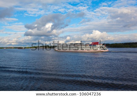boat cruise and river Moscow Canal in cloudy weather during summer
