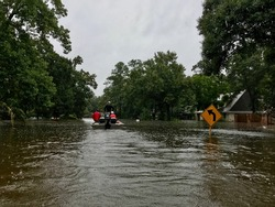 Boat evacuations due to flooding from Hurricane Harvey in Spring Texas, a couple miles north of Houston off East Cypresswood Drive.