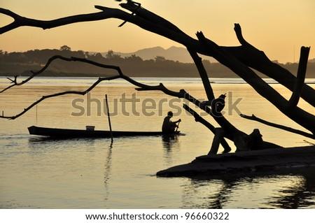 Boat Fisherman River Landscape Thailand