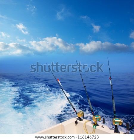 boat fishing trolling in deep...