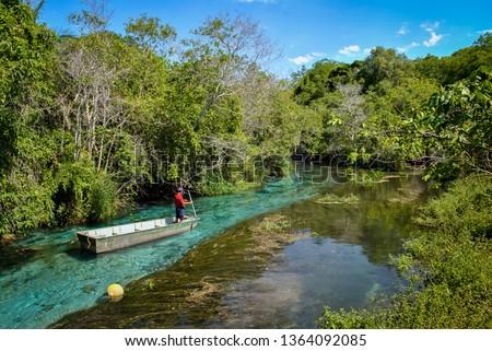 Photo of  Boat floating on Sucuri river in Bonito, Mato grosso do sul - Brazil