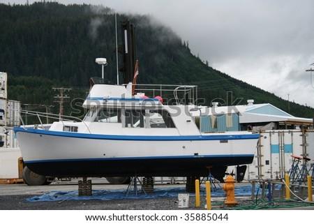 Boat in drydock at Wrangell, Alaska