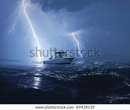 Boat in lightning storm