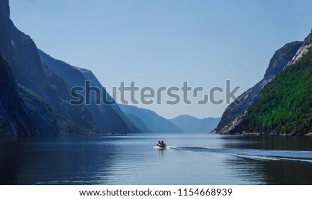 Boat in Lysefjord Norway