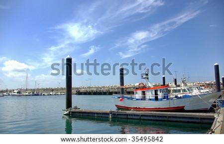 Boat in Port of Peniche, Portugal.