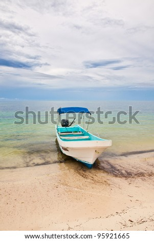 Boat in the beach, Sian Kaan, Mexico
