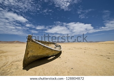 Boat in the desert. Paracas National Reserve, Paracas, Ica Region, Peru.