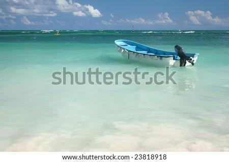 Boat in Tropical, Caribbean Ocean Waters, versatile for a variety of designs