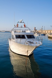 Boat moored at Monopoli port. Apulia.