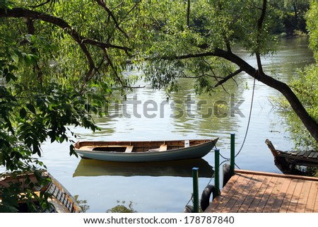 Boat moored in a small Russian River