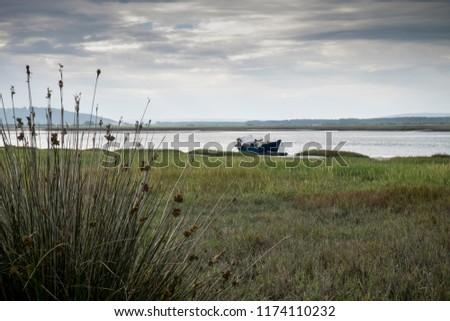 Boat moored in Carmarthen Bay estuary