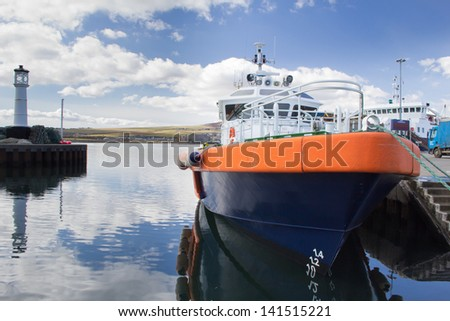 Boat moored in Kirkwall Harbour