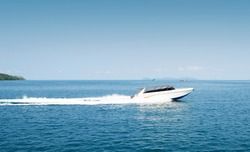Boat,  Motor boat, Speed boat goes fast on the sea