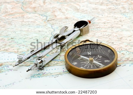 boat navigation - compass and marine map studio isolated