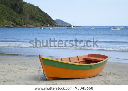 Boat on a Beach in Florianopolis, Brazil