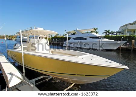 Boat on a Pontoon Lift