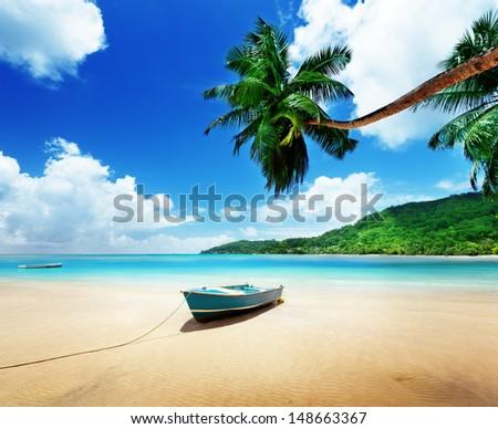 boat on beach Mahe island, Seychelles