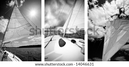 Boat on lake. Three black and white photos