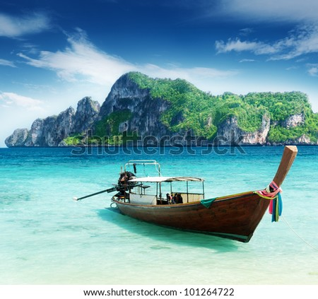 boat on Phi Phi island Thailand
