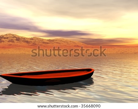 Boat on shore - stock photo