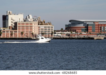 Boat on St. Johns River, Downtown Jacksonville, Florida