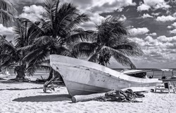 Boat on the beach, black and white photography