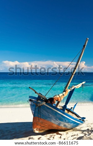 Boat on the beach. Skyline. - stock photo