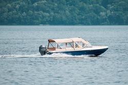 Boat on the Danube. Motor boat. Boat trip on the Danube