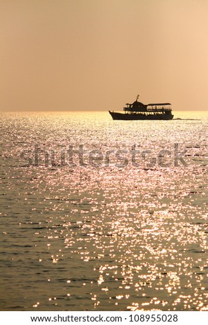 Boat on the Golden sea