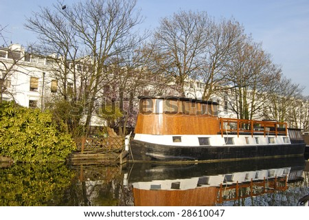 Boat on the Grand Union Canal at Little Venice in London, England