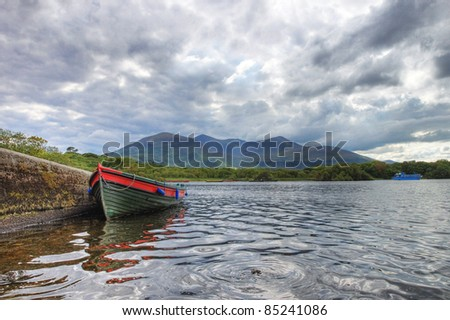 Boat on the lake in Killarney National Park in Ireland.