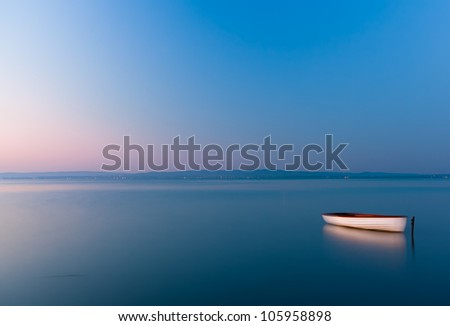 Boat on the lake,morning from Hungary