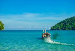 boat on the sea. Normal life for fisherman in southern of Thailand