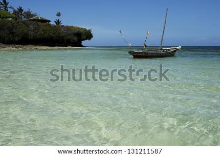Boat on the water in Kenya