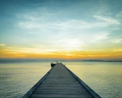 Boat pier at sunset. Beautiful landscape.