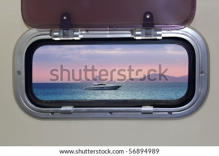Boat porthole sunset view red blue ocean sea magic light [Photo Illustration]