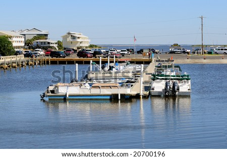 Boat ramp and basin in Cedar Key, Florida on the Gulf Coast.