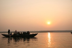 Boat ride on the Ganges river