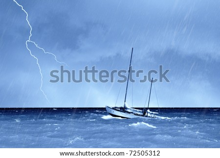 boat sails into the storm