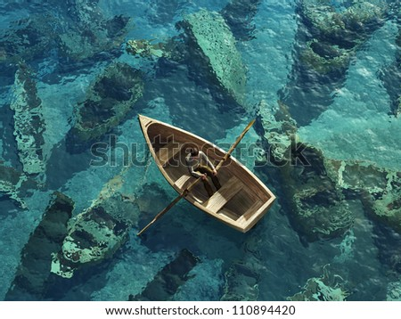 boat sails through the graveyard of sunken boats