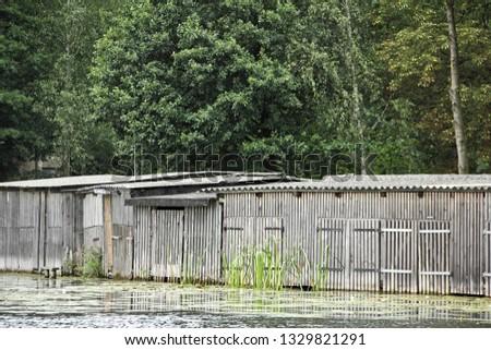 Boat sheds in the Uckermark in Germany