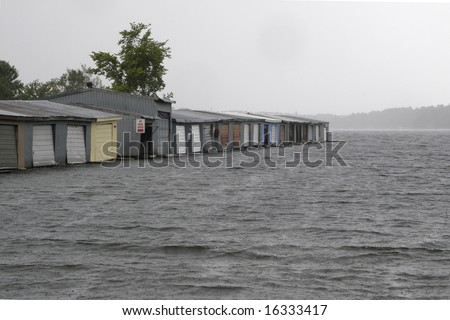 Boat shelter in rainy weather