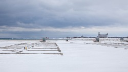 Boat slips are frozen in while the Lighthouse Point Marina in Collingwood, Ontario, experiences winter storms and the freezing temperatures of Georgian Bay.