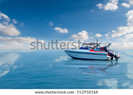 Boat speed boat on the sea with beautiful bright sky. #552958168