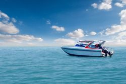 Boat speed boat on the sea with sky natural beauty.