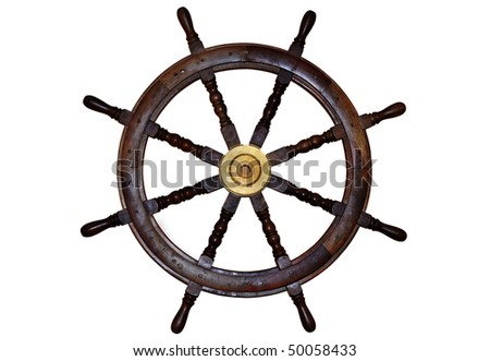Boat steering wheel isolated on white - stock photo
