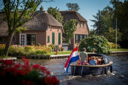 Boat trip at Giethoorn, The Netherlands, Europe